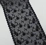 Ажурное кружево вышивка на сетке черного цвета, ширина 19 см, фото 3