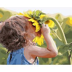Картина по номерам Ребенок у подсолнуха, 40x50 см., Brushme