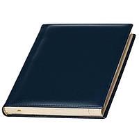 Ежедневник A5 Кожаный датированный, кремовый блок, синий, от 10 шт