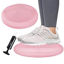 Балансировочная подушка (сенсомоторная) массажная Springos PRO FA0089 Pink, фото 3