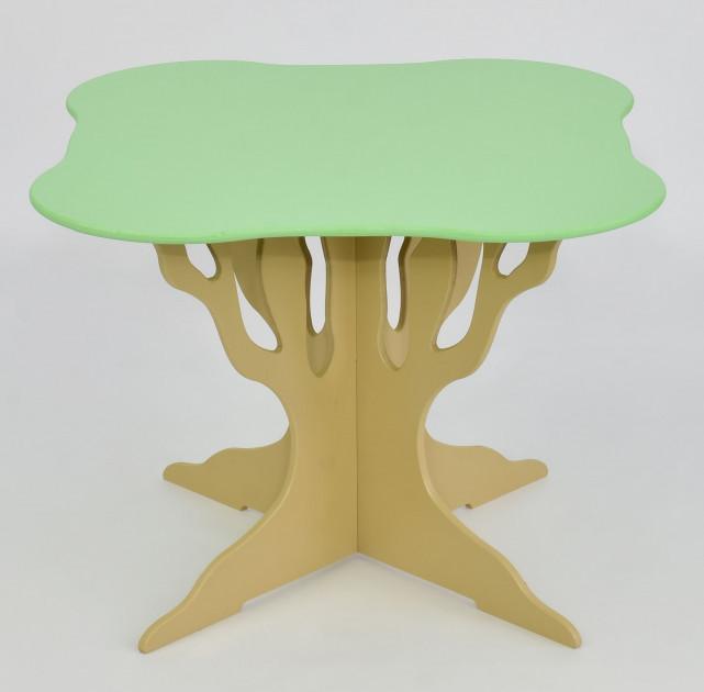 """Стол """"Мася"""" ножка в форме дерева (выс.46см), столешница квадрат салатовый (диам.62см), Бамсик /1/"""