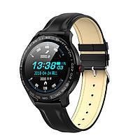 Умные часы Lemfo L9 leather с измерением давления и ЭКГ (Черный), фото 1
