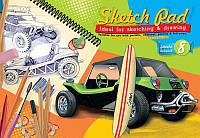 Альбом для рисования 8 листов, скоба. Серия Ретро-авто - Баги. 253655
