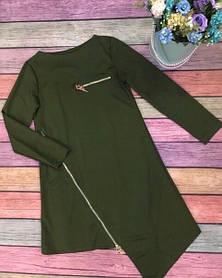 Ассиметричное платье из французского трикотажа с молнией и длинными рукавами, универсальный размер