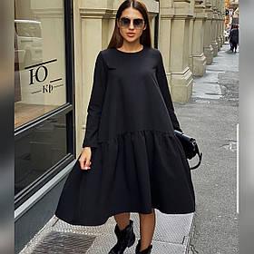 Осеннее платье клёш из мемори, свободный крой и длинный рукав и короткая молния сзади, универсального размера Чёрный