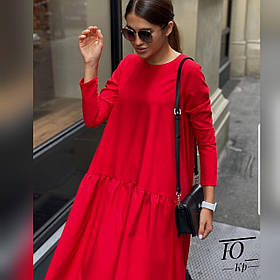 Осеннее платье клёш из мемори, свободный крой и длинный рукав и короткая молния сзади, универсального размера Красный
