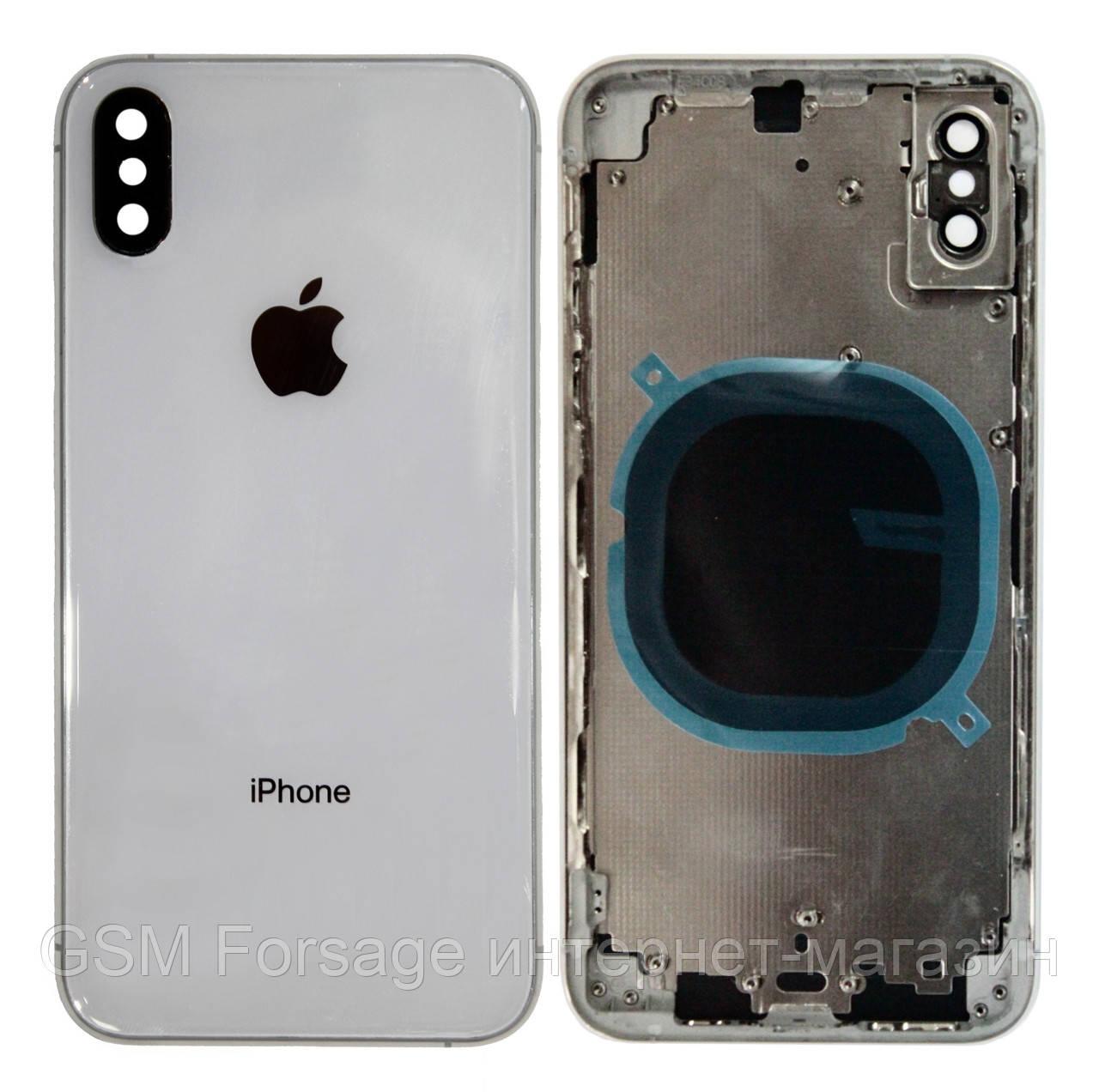 Крышка задняя iPhone XS с рамкой Silver