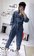 Женский джинсовый комбинезон на пуговицах