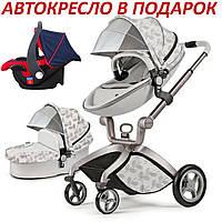 Оригинальная детская коляска 2в1 Hot Mom эко-кожа Leaf