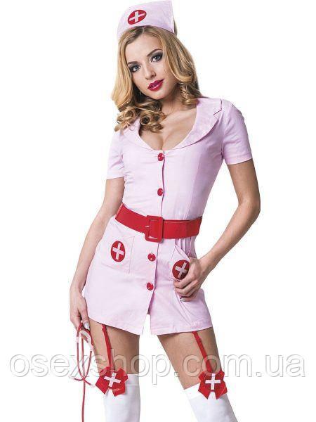 Костюм медсестри рожевий з червоним поясом 3 предмета M/L