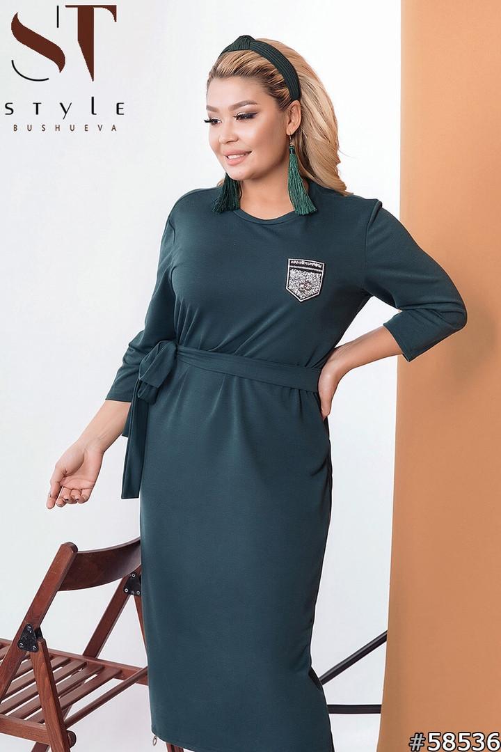 Сукня трикотажне прямого крою з поясом,міді, 2 кольори р-р 50-52,54-56,58-60 Код 575Б