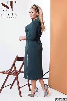 Сукня трикотажне прямого крою з поясом,міді, 2 кольори р-р 50-52,54-56,58-60 Код 575Б, фото 2