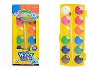 Краски акварельные  большие  таблетки 12 цветов COLORINO (41089PTR)