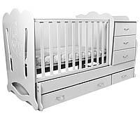 """Детская кроватка-трансформер с комодом 3в1 """"Соня"""" Angel baby, белая (цвет на выбор)"""