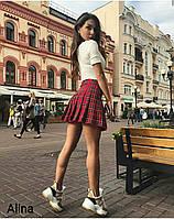 Женская короткая юбка в красную клетку расклешенная 38JU370