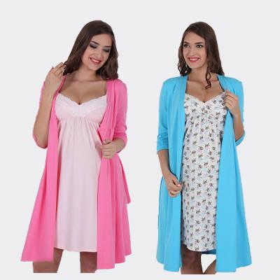 Халаты для беременных, ночные сорочки, пижамы, комплекты для беременных и кормящих