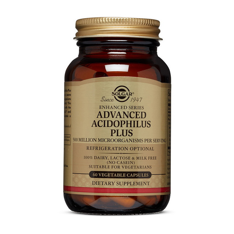 Комплекс бифидо и лактобактерий Solgar Advanced Acidophilus Plus 60 veg caps пробиотики