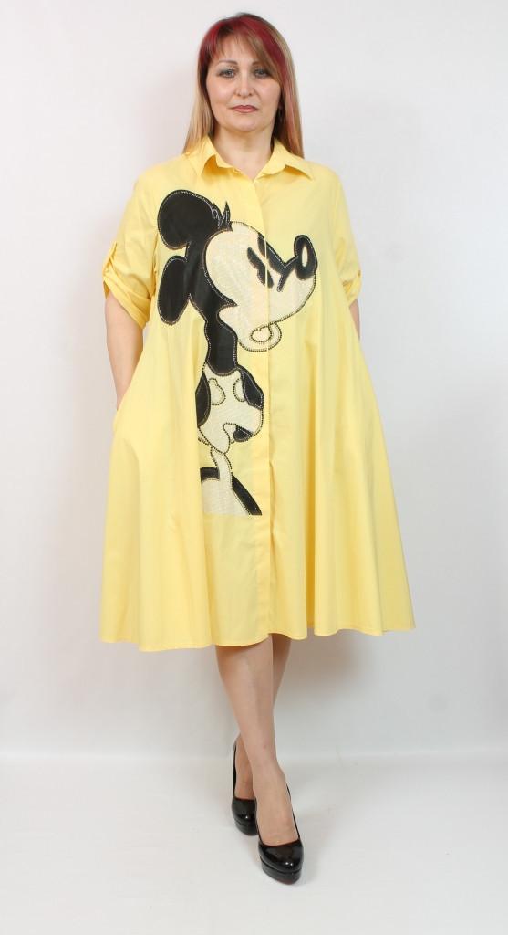 Турецкое женское платье - рубашка Микки, больших размеров 52-64
