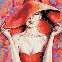 """Алмазная вышивка. """"Леди в красной шляпе"""" 40*40см AM1002"""