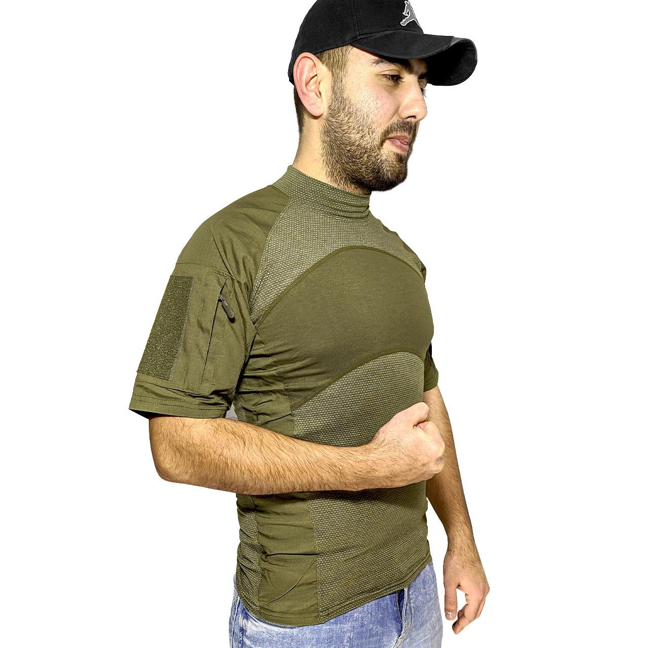 Тактическая футболка с коротким рукавом Lesko A424 Green M мужская армейская камуфляжная с карманами военная