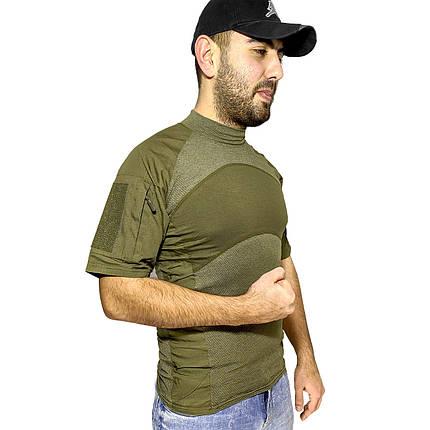 Тактическая футболка с коротким рукавом Lesko A424 Green XL мужская армейская камуфляжная с карманами военная, фото 2