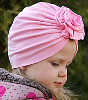 "Шапка чалма ""Розочка"" Розовая 2-слойная, размеры 0-5 лет"