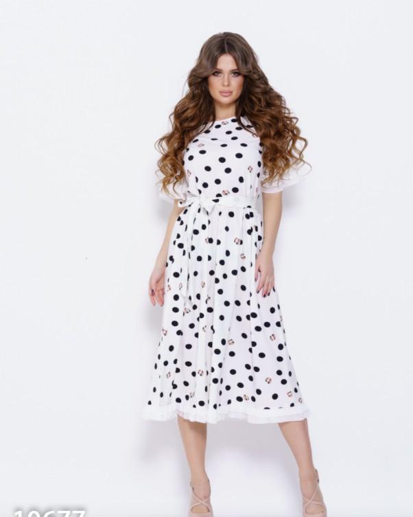 Белое платье в горошек с плиссированными рюшами S