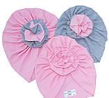 """Шапка чалма """"Розочка"""" розово-серая 2-слойная, размеры 0-5 лет, фото 3"""