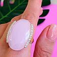 Серебряный комплект с розовым кварцем и золотом: серьги с розовым кварцем, кольцо серебряное с розовым кварцем, фото 8