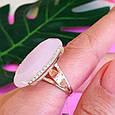 Серебряный комплект с розовым кварцем и золотом: серьги с розовым кварцем, кольцо серебряное с розовым кварцем, фото 7