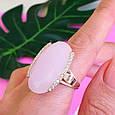 Серебряный комплект с розовым кварцем и золотом: серьги с розовым кварцем, кольцо серебряное с розовым кварцем, фото 6