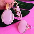 Серебряный комплект с розовым кварцем и золотом: серьги с розовым кварцем, кольцо серебряное с розовым кварцем, фото 2