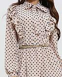 Бежевое платье с воланом и рюшами, фото 4
