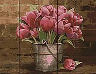 """Картина по номерам на дереве """"Ведро тюльпанов"""" 40х50 см"""
