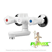 Пластиковый смеситель для ванной PLAMIX Omega-142 White (без шланга и лейки)