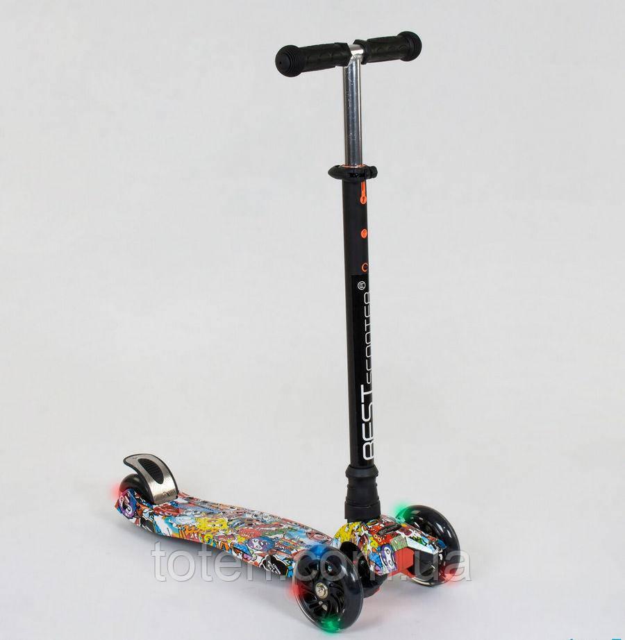 """Самокат А 25460 /779-1315 MAXI """"Best Scooter"""" пластмассовый, 4 колеса PU, СВЕТ, трубка руля алюм"""