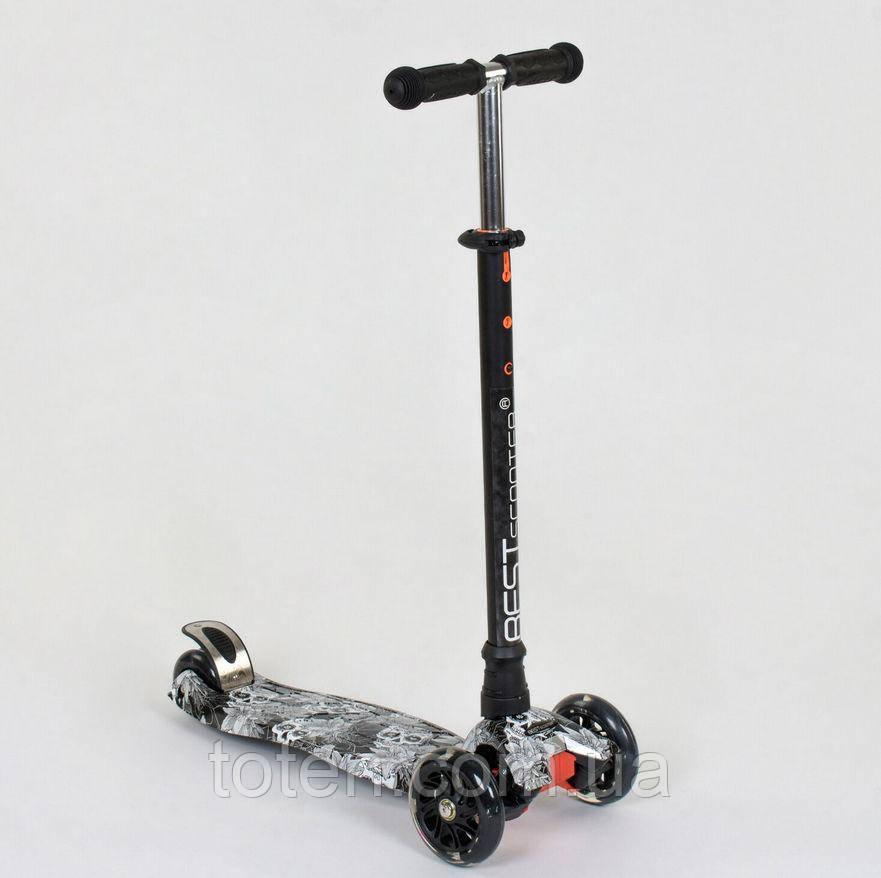 Самокат MAXI Best Scooter 4 колеса PU, СВІТЛО, d=12см, трубка керма алюмінієва 1320