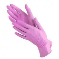 Нитриловые перчатки 100 шт 50 пар розовые женские размер S (RA-513)
