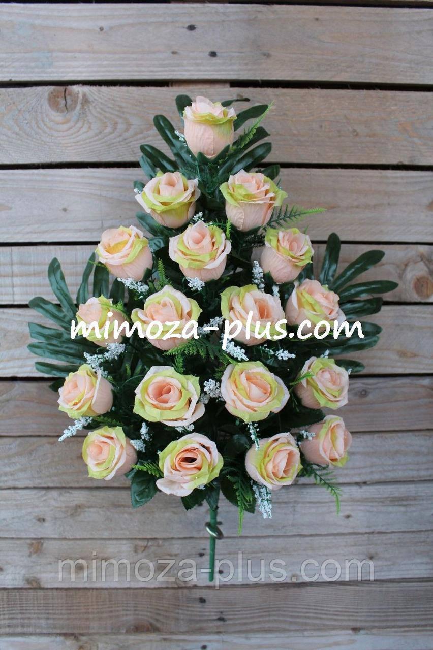 Искусственные цветы - Роза с гипсофилой композиция