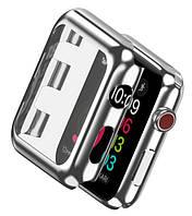 Накладка с встроенным защитным стеклом for Apple Watch 40/44мм Silver
