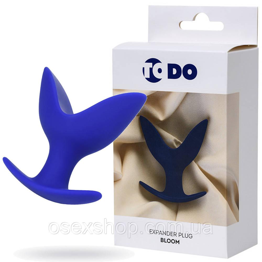 Расширяющая анальная пробка ToDo By Toyfa Bloom, силикон, синяя, 9,5 см, ø 7 см