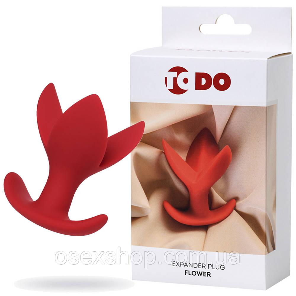 Расширяющая анальная пробка ToDo By Toyfa Flower, силикон, красная, 9 см, ø 6 см