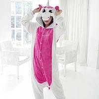 Кигуруми-пижама единорог бело-розовый S 145-155 см рост