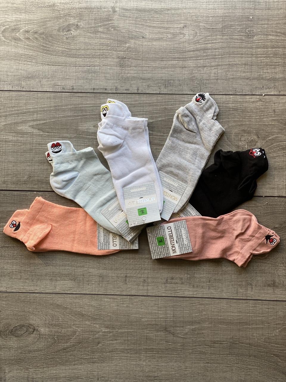 Жіночі короткі з вишитими смайликами шкарпетки однотонні бавовна Montebello 35-40 12 шт в уп мікс 6 кольорів