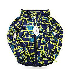 Детская куртка ветровка для мальчика абстракция синяя 3-4 года
