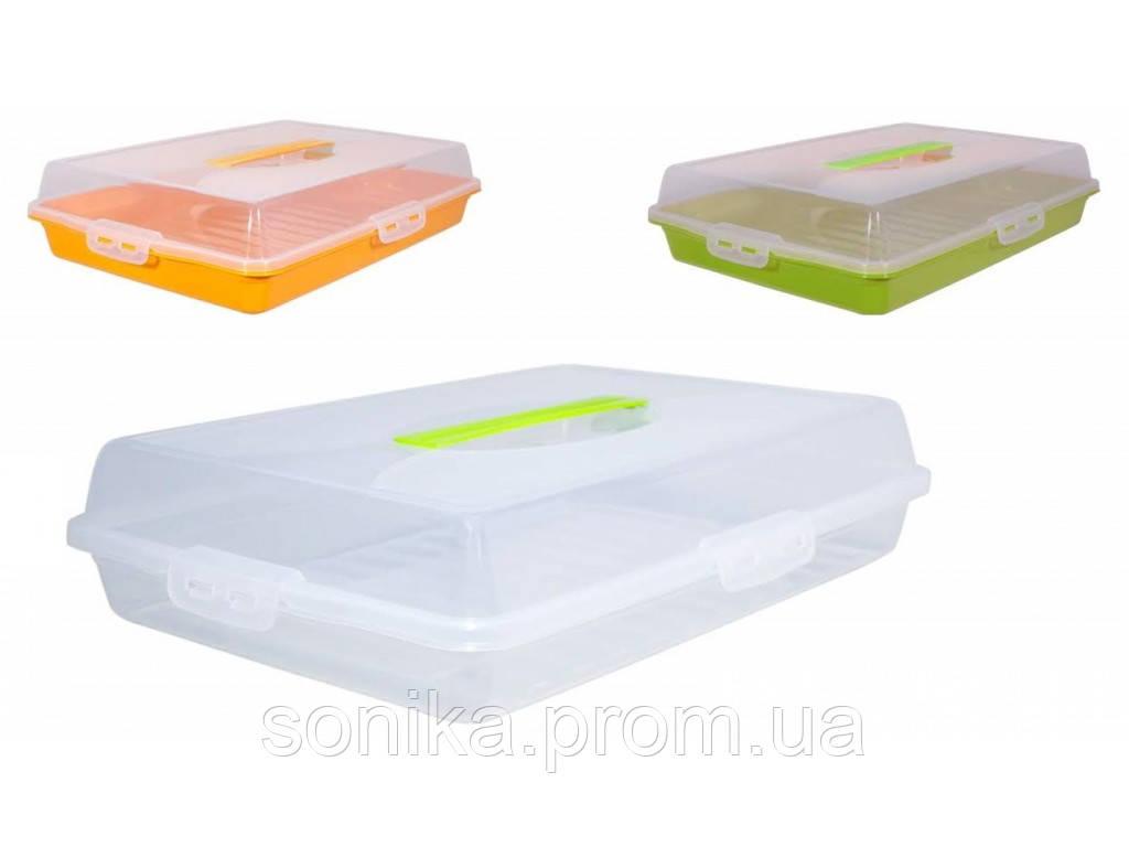 Тортівниця прямокутна пластикова 44*30*9,5 см