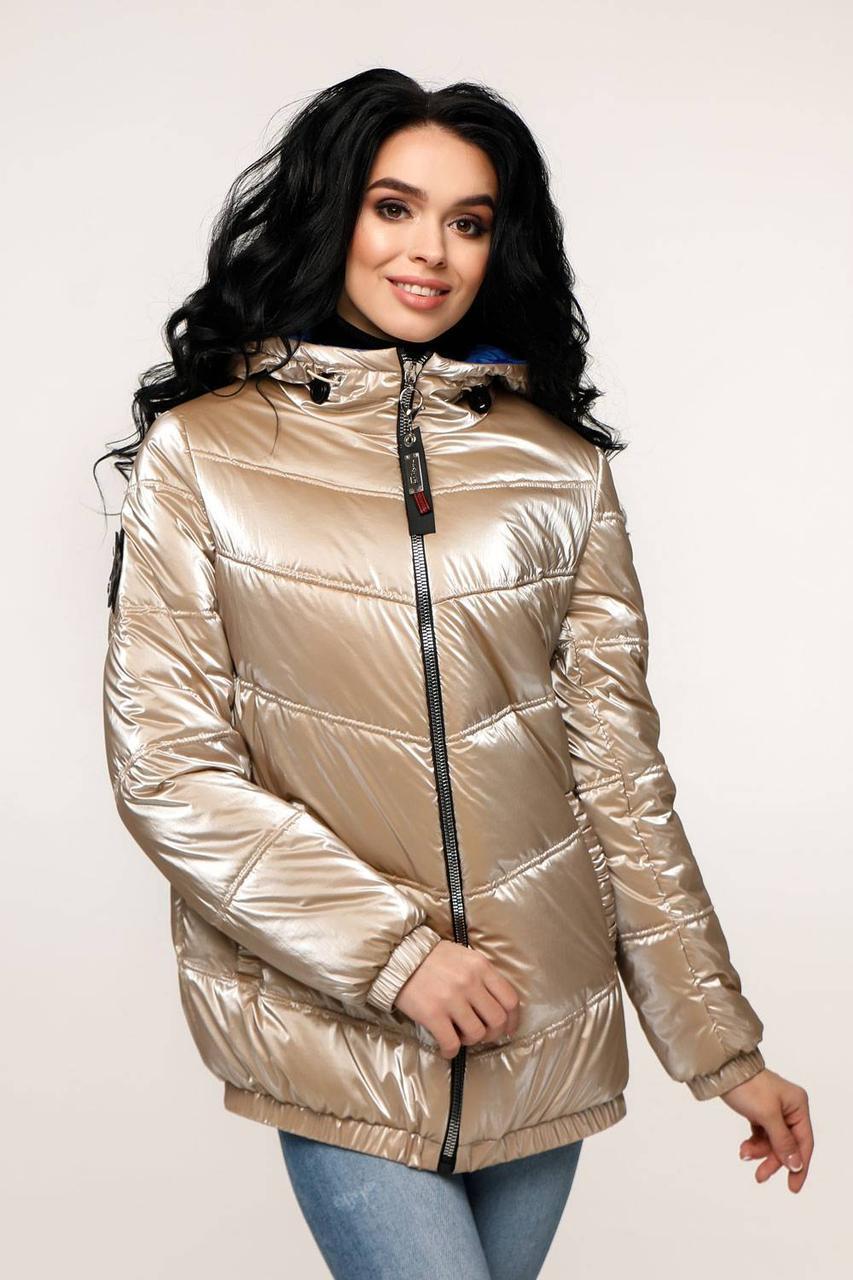 Куртка стеганая демисезонная, выполнена из плащевой ткани Фольга с 44 по 54 размер - SvitStyle
