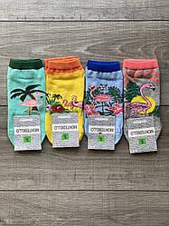 Женские носки Montebello, носки короткие с фламинго пальмами цветами, хлопок 36-40 12 шт в уп. микс 4 коле