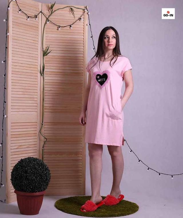 Жіноче літнє плаття вільний бавовняне рожеве 44-50р.