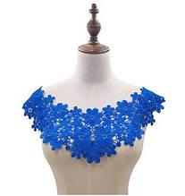 Синий пришивной воротник из кружева женский